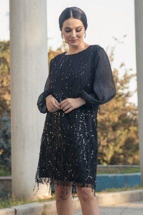 Gökmen Kotan Kadın Siyah Payet İşlemeli Abiye Elbise 2