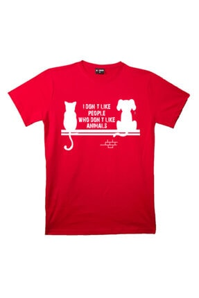 mAddog Unisex Kırmızı I Don't Like People Baskılı T-shirt 0
