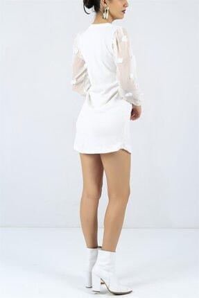 FİLELİ Kadın Beyaz Ponpon Kol  Elbise 3