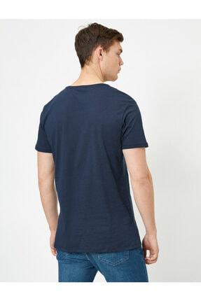 Koton Erkek Lacivert Yazılı Baskılı T-shirt 3
