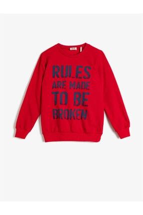 Koton Erkek Çocuk Kırmızı Pamuklu Uzun Kollu Bisiklet Yaka Yazili Baskili Sweatshirt 0