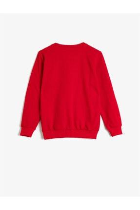 Koton Erkek Çocuk Kırmızı Pamuklu Uzun Kollu Bisiklet Yaka Yazili Baskili Sweatshirt 1