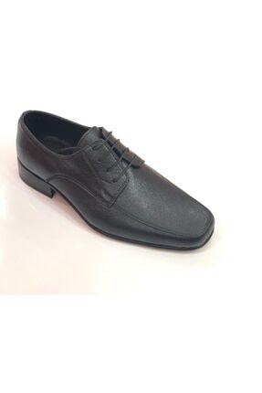 Siyah Bağcıklı Hakiki Deri Erkek Kösele Ayakkabı KÖSELE