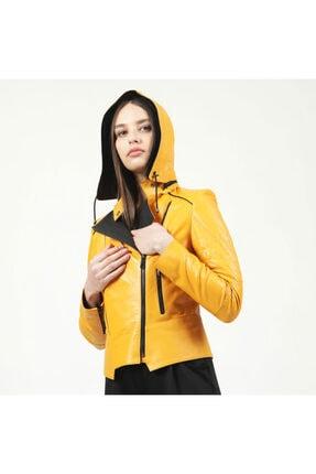2097 Sarı Kadın Deri Mont resmi