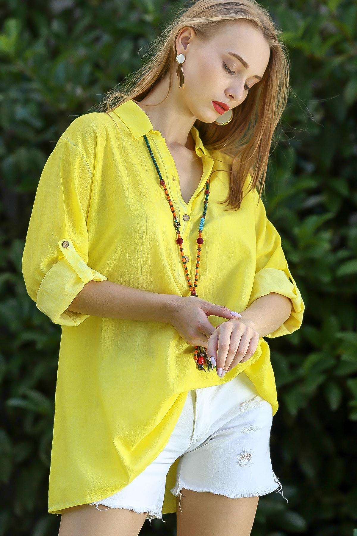 Chiccy Kadın Neon Sarı Casual Gömlek Yaka Pat Detaylı Yıkamalı Tunik Bluz M10010200Bl96076 1