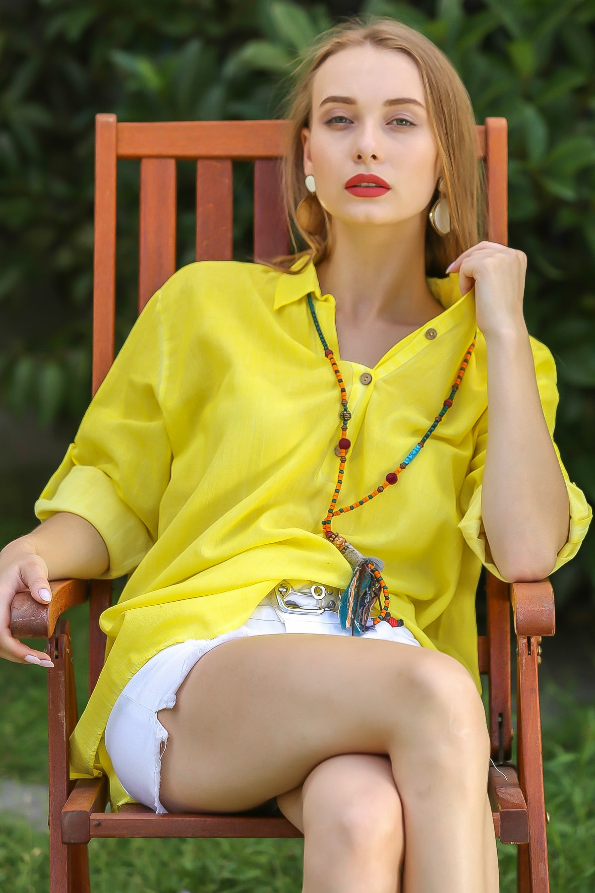 Chiccy Kadın Neon Sarı Casual Gömlek Yaka Pat Detaylı Yıkamalı Tunik Bluz M10010200Bl96076 3