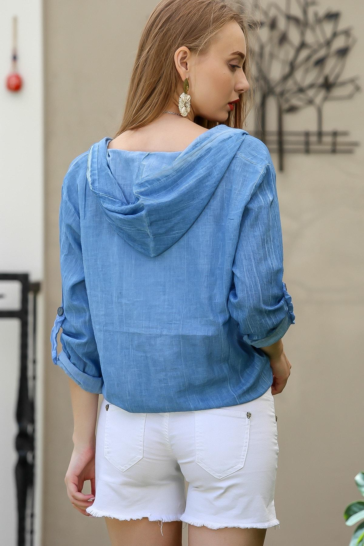 Chiccy Kadın Mavi Casual Kapüşonlu Düğmeli Beli Ip Detaylı Büzgülü Yıkmalı Ceket M10210100Ce99339 4