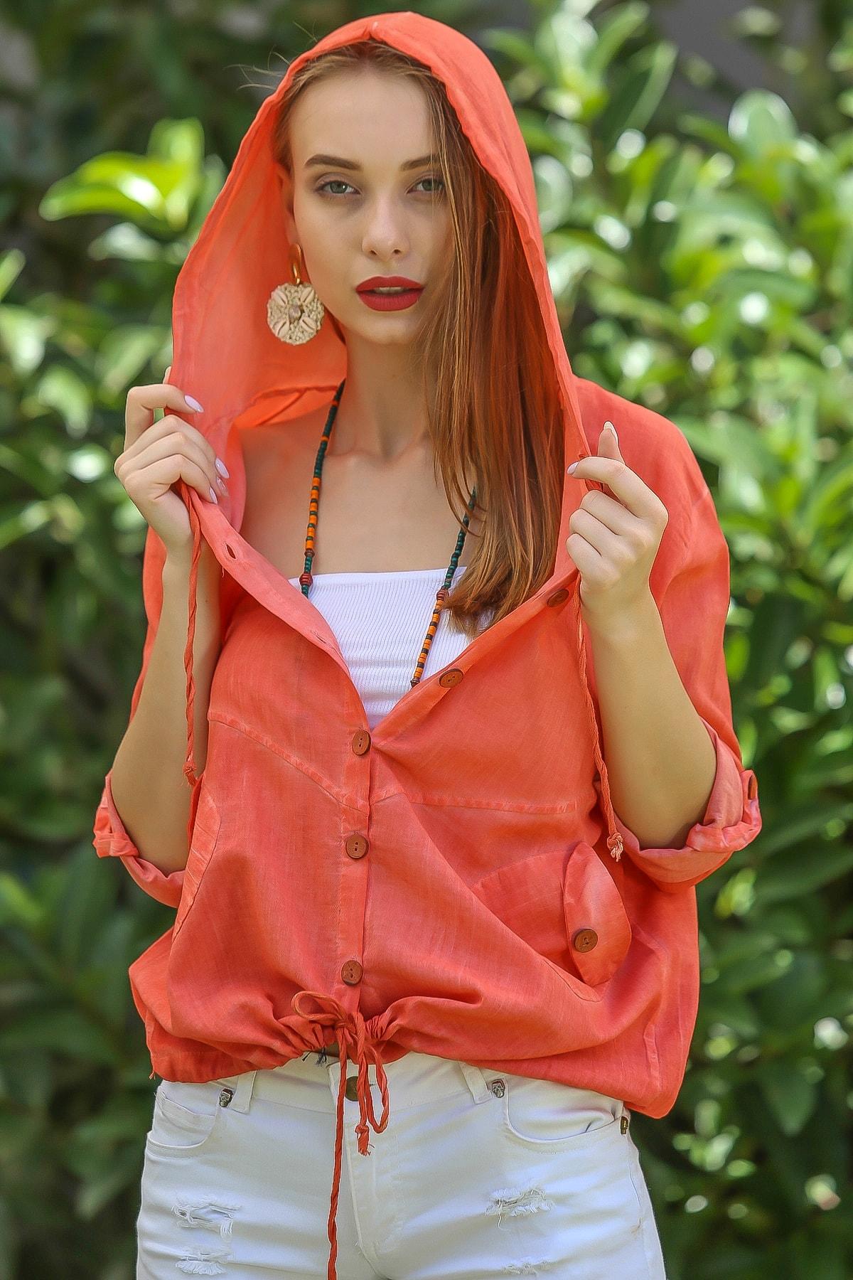 Chiccy Kadın Turuncu Casual Kapüşonlu Düğmeli Beli Ip Detaylı Büzgülü Yıkmalı Ceket M10210100Ce99339 2
