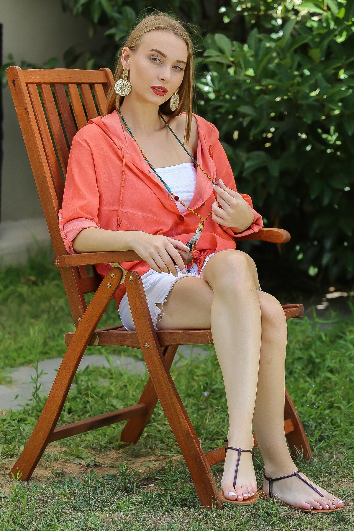 Chiccy Kadın Turuncu Casual Kapüşonlu Düğmeli Beli Ip Detaylı Büzgülü Yıkmalı Ceket M10210100Ce99339 3