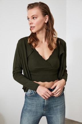 TRENDYOLMİLLA Zümrüt Yeşili Bluz Hırka Triko Takım  TWOAW21HI0111 0