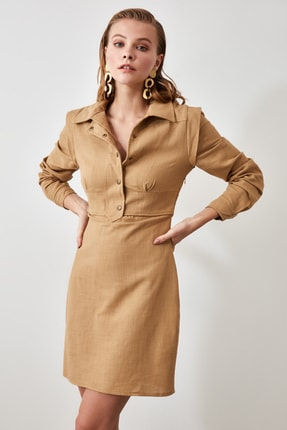 TRENDYOLMİLLA Taş Gömlek Yaka Elbise TWOAW21EL0202 2