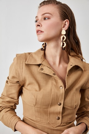 TRENDYOLMİLLA Taş Gömlek Yaka Elbise TWOAW21EL0202 3