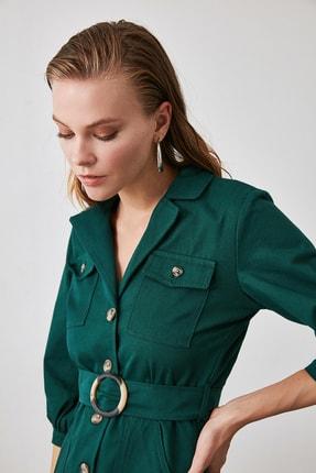 TRENDYOLMİLLA Haki Kemerli Gömlek Elbise TWOAW20EL1156 1