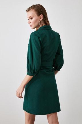 TRENDYOLMİLLA Haki Kemerli Gömlek Elbise TWOAW20EL1156 3