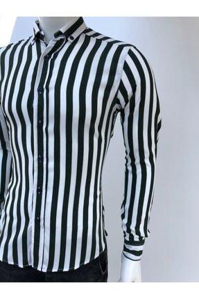 JİYAN Erkek Siyah Beyaz Çizgili Uzun Kollu Gömlek 1
