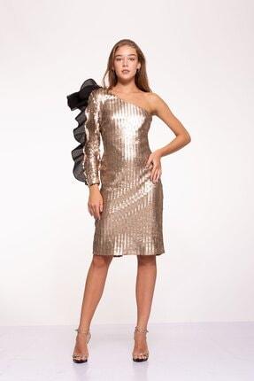 Kadın Altın Rengi Tek Kol Volan Detaylı Çivi Payet Issa Elbise TESS209214