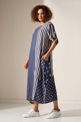 Camena Puantiye Çizgili Keten Elbise 2019070500188 1