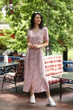 TEORA FASHION Çıtır Desen Düğme Detay Kuşaklı Viskon Elbise 1