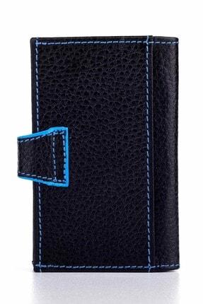 Anı Yüzük Akordiyon Model Hakiki Deri Erkek Kartlık Siyah-mavi Detaylı 3