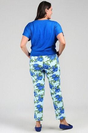 Womenice Kadın Mint Büyük Beden  Beli Lastikli Cepsiz Çiçekli Pantolon 3