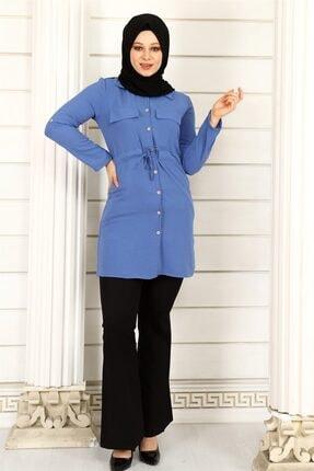 ModaKardelen Kadın İndigo Mavisi Belden Bağlamalı Gömlek 1
