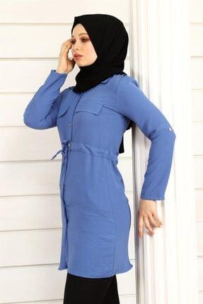 ModaKardelen Kadın İndigo Mavisi Belden Bağlamalı Gömlek 2