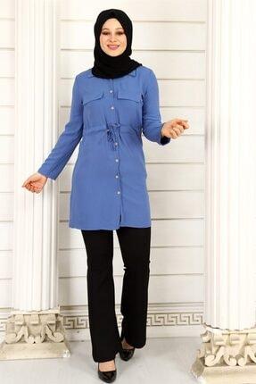 ModaKardelen Kadın İndigo Mavisi Belden Bağlamalı Gömlek 3