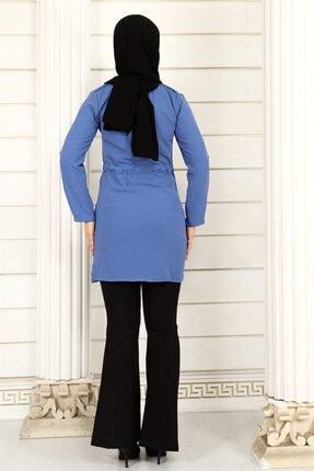 ModaKardelen Kadın İndigo Mavisi Belden Bağlamalı Gömlek 4