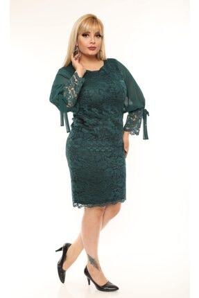 VOLİNAY TEKSTİL Kadın Yeşil Büyük Beden Güpür Kolu Şifon Abiye Elbise 1