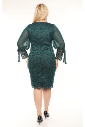 VOLİNAY TEKSTİL Kadın Yeşil Büyük Beden Güpür Kolu Şifon Abiye Elbise 2