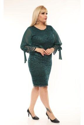 VOLİNAY TEKSTİL Kadın Yeşil Büyük Beden Güpür Kolu Şifon Abiye Elbise 3
