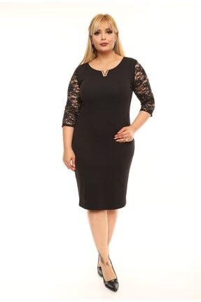 FİDAN TEKSTİL Kadın Siyah Büyük Beden V Broş Detay Abiye Elbise 1