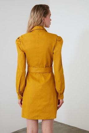 TRENDYOLMİLLA Hardal Kemerli Gömlek Elbise TWOAW21EL0181 2