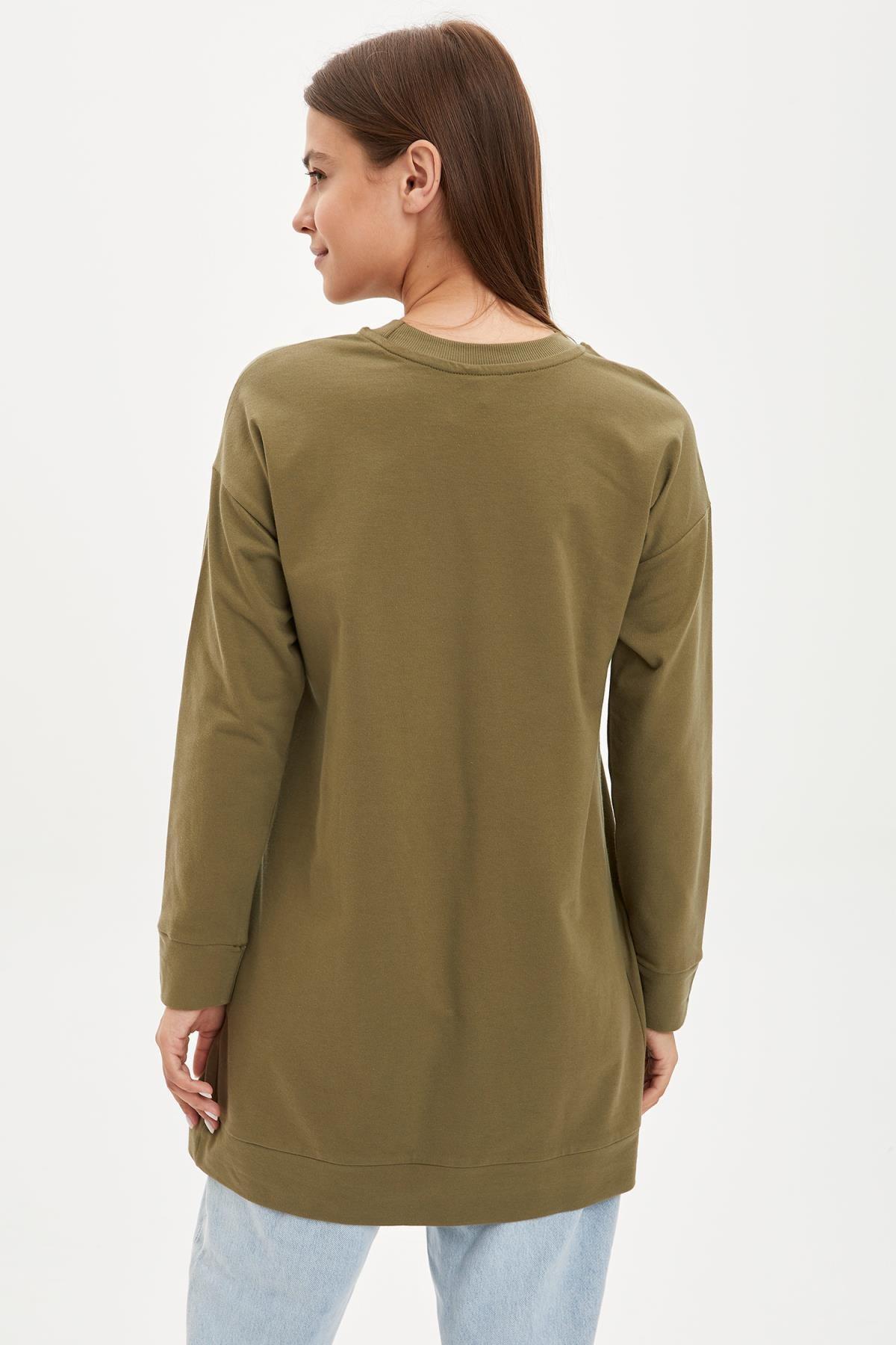 DeFacto Kadın Modest Khakı Relax Fit Basic Pamuklu Sweat Tunik M8670AZ20SP 3