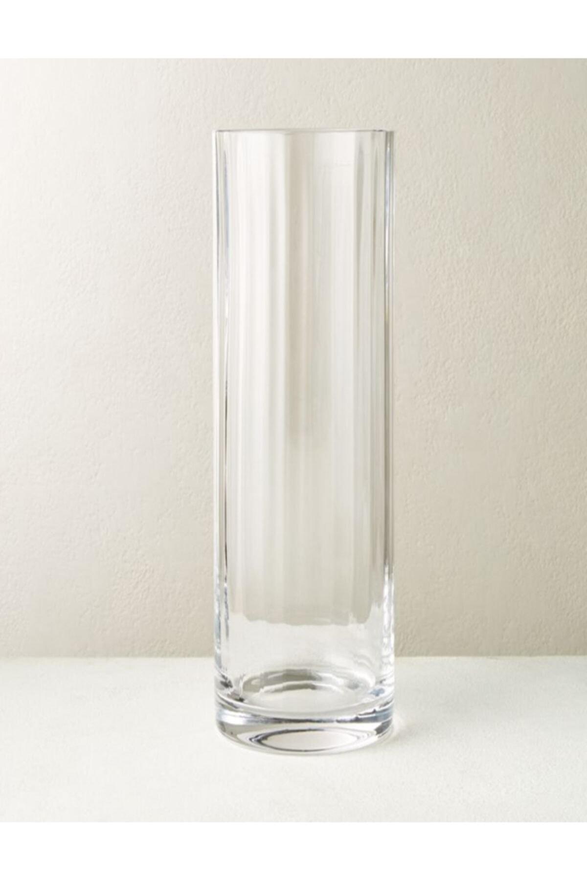 Silindir Rölyefli Cam Vazo (15 Cm Çap-50 Cm Yükseklik)