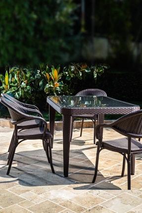 Tilia Flash 90*150 6 Kişilik Bahçe Masa Takımı -bahçe Balkon Teras Camlı Masa Takımı*kahve Rengi* 1