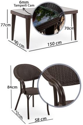 Tilia Flash 90*150 6 Kişilik Bahçe Masa Takımı -bahçe Balkon Teras Camlı Masa Takımı*kahve Rengi* 2