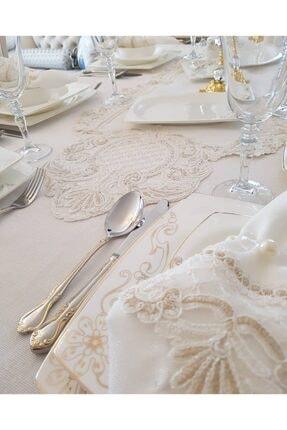 Çt Çeyizci Tekstil Aşiyan 12 Kişilik 26 Parça Fransız Dantelli Masa Örtüsü Yemek Takımı - Krem 4