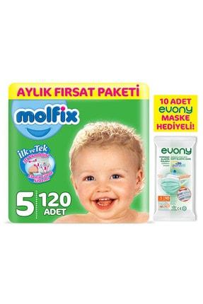 Molfix Bebek Bezi 5 Beden Junior Aylık Fırsat Paketi 120 Adet + Evony Maske 10'lu Hediyeli 0