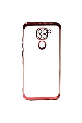 Coverzone Xiaomi Redmi Note 9 Kılıf Dört Köşeli Lazer Şeffaf Thunder Kırmızı 0