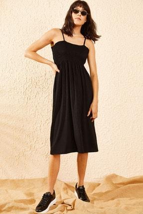 Bianco Lucci Kadın Siyah Gipeli İp Askılı Midi Boy Elbise 1
