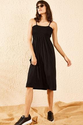 Bianco Lucci Kadın Siyah Gipeli İp Askılı Midi Boy Elbise 3