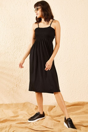 Bianco Lucci Kadın Siyah Gipeli İp Askılı Midi Boy Elbise 4