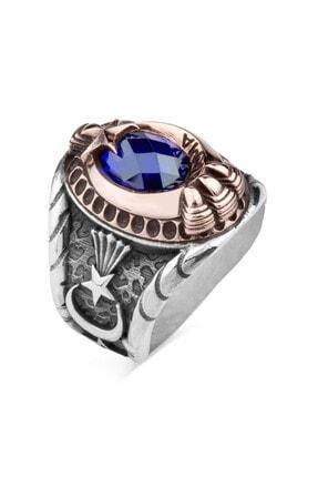Anı Yüzük Mavi Taşlı Pençeli Jandarma Uzman Çavuş Yüzüğü 1