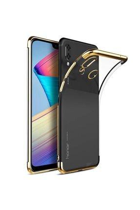 ACK Huawei Honor Play Kılıf Köşeleri Renkli Arkası Şeffaf Silikon Altın 0