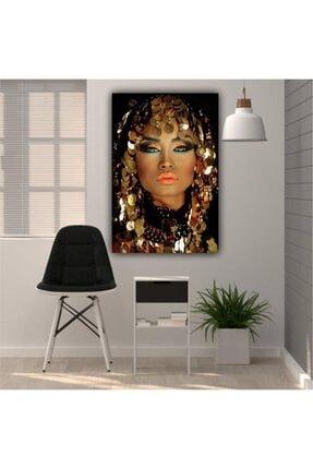 Simli Kanvas Ayk-022 Altın Örtülü Kadın Kanvas Tablo 140x95 cm 0