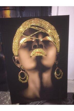 Simli Kanvas Gold Sim Işlemeli Küpeli Siyahi Kadın Kanvas Tablo  Sepya Renk 50x35 cm 0