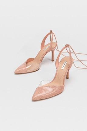 Stradivarius Kadın Pembe Vinil Detaylı, Bilekten Bağlamalı Ve Topuklu Ayakkabı 19157570 1