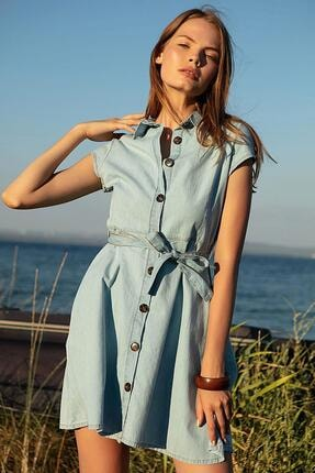 Pattaya Kadın Açık Mavi Kuşaklı Kısa Kollu Kot Elbise PTTY20S-9677 1