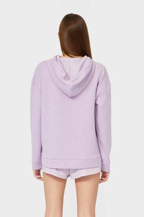 Stradivarius Kadın Leylak Kapüşonlu Basic Sweatshirt 06502600 1